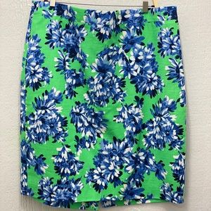 J. Crew The Pencil Skirt Green Floral Size 14